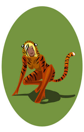 seduction: 1 of 12 signs of Chinese horoscope tiger-women Illustration