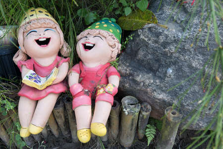 close up,Happy dolls for garden decoration Stock Photo