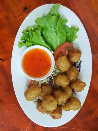 Fried shrimp balls Served with sauce Stock Photo