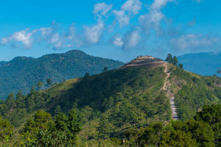 Mountainous border that separates Thailand - Myanmar at doi angkhang chiangmai,Thailand Stock Photo