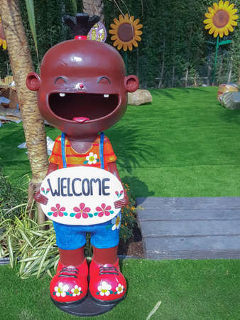 close up,Happy dolls for garden decoration have greetingwelcome