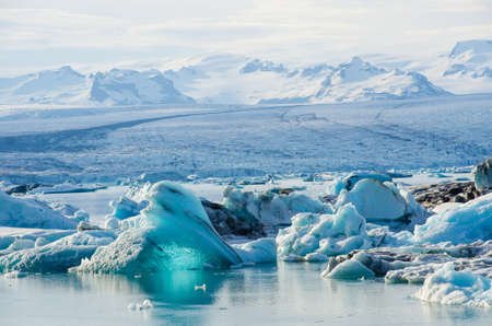 View of icebergs in Glacier Lagoon, Iceland.