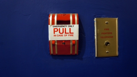 Red fire alarm pull switch photo
