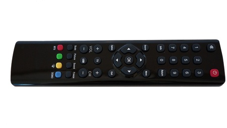 tv remote control black on white photo
