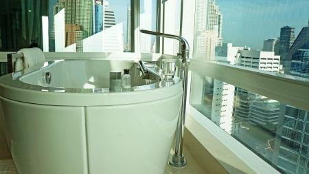 Bathroom with bath tub photo