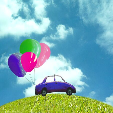 Car with balloon on green grass photo