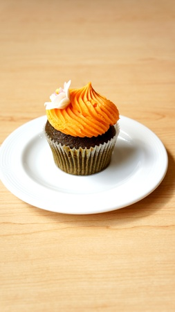 one cupcake in white plate photo
