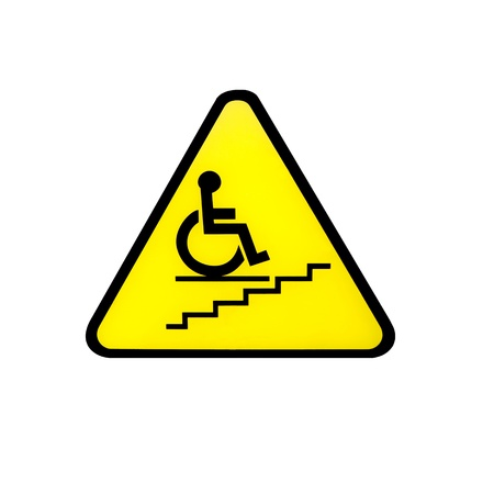 raod: Disabled person warning raod sign Stock Photo