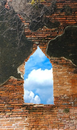 Old wall and window with sky view photo