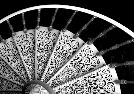 banister: Black and white spiral stairs