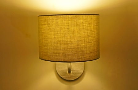 contemporary fabric lamp at night photo