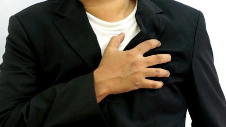 dolor de pecho: Empresario ataque al coraz�n en aislado Foto de archivo