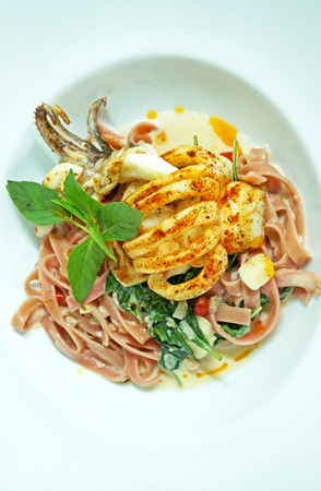 Fettuccine with squid photo