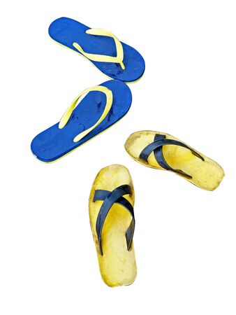 Isolated wet sandals  two pairs  photo