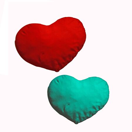 Red and green pillow for my Valentine isolated over white photo
