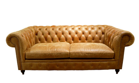 Brown luxurious sofa isolated on white background, front view
