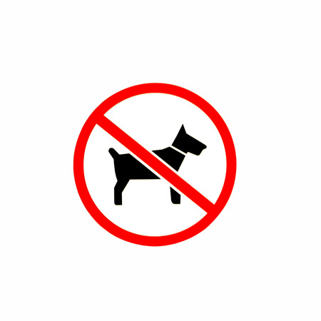 stay alert: No dogs or pets allowed, warning sign, isolated round signage Stock Photo