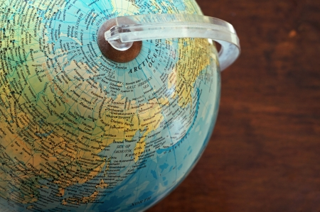 Part of a globe with map of North Asia and Arctic Stock Photo
