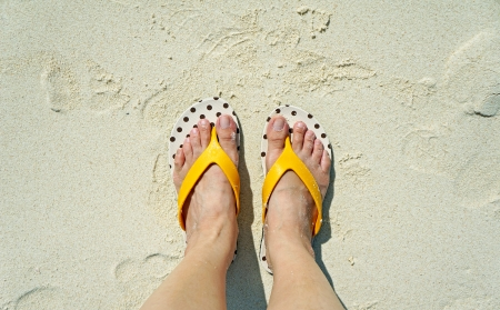 painted toes: On the beach Stock Photo