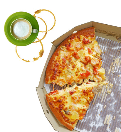 leftovers: leftovers of pizza in a takeaway box and coffee isolated on white