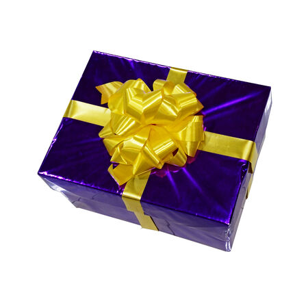 blue gift box with yellow ribbon photo
