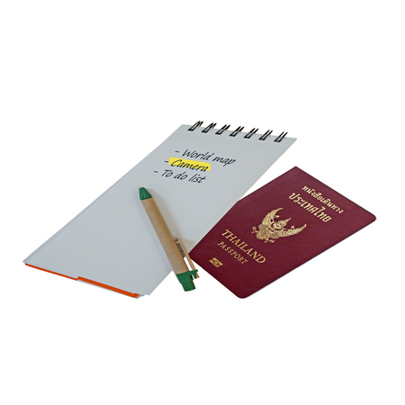 Thailand passport with list down on notebook  travel concept  photo