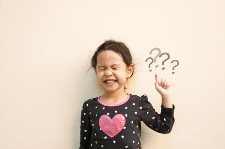 little girl with question mark