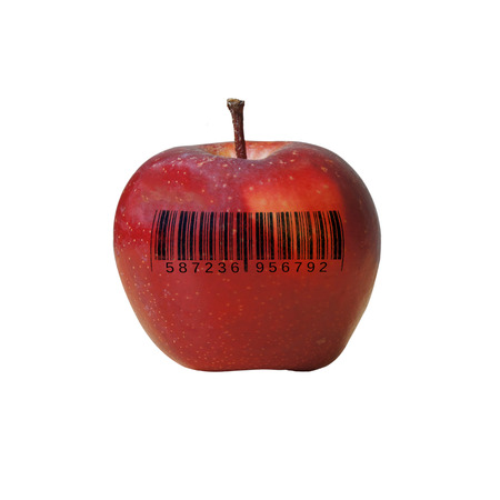 individualist: single apple with bar code, no copyright infringement, bar code is fake Stock Photo