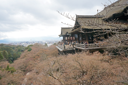 KYOTO - March 6  Kiyomizu-dera stage with spring colors March 6, 2014 in Kyoto, JP  Founded in the 700