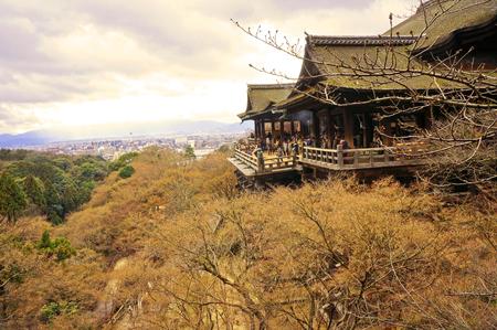 Spring leaves at Kiyomizu-dera temple in Kyoto, Japan photo