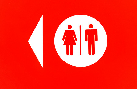 Toilet sign and direction with copy space photo