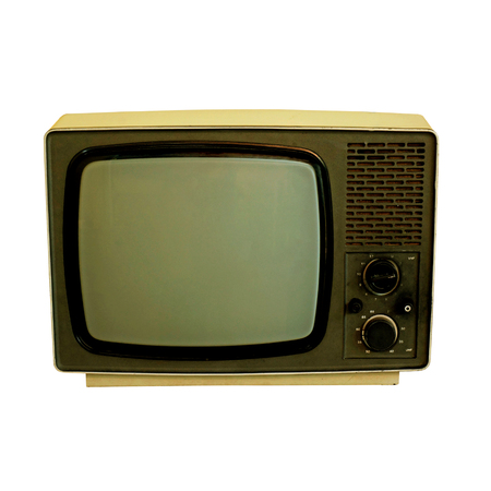 old TV on the isolated white background photo