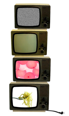 Vintage televisions with cut out screens photo