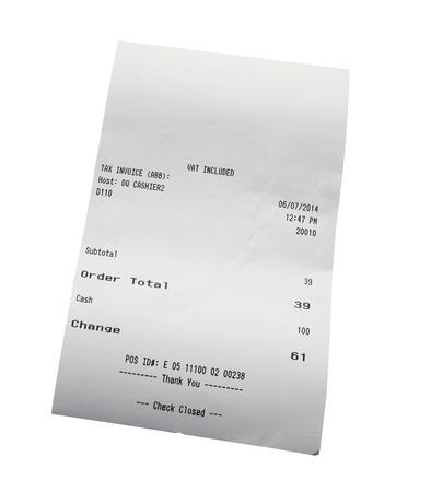 Closeup of grocery shopping receipt