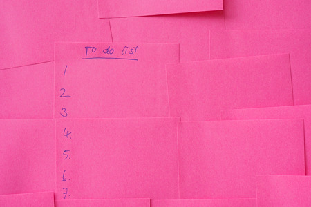 noted: To do list, noted on pink note paper