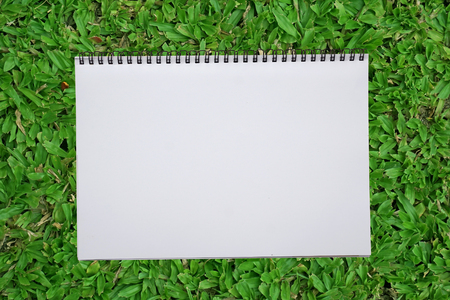recycle area: blank notebook recycle paper open two page with copy space area for multipurpose use open on green grass field