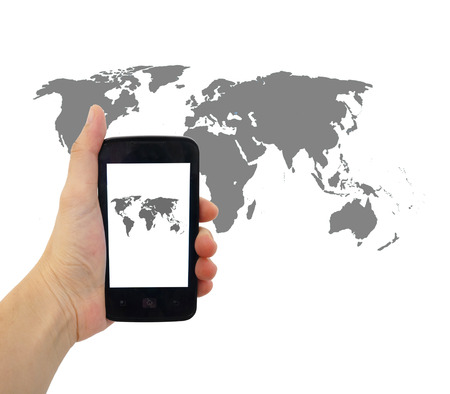 smart phone with world map for social and internet connectivity concept photo