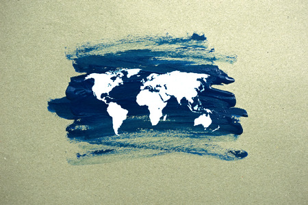 painted world map on paper photo