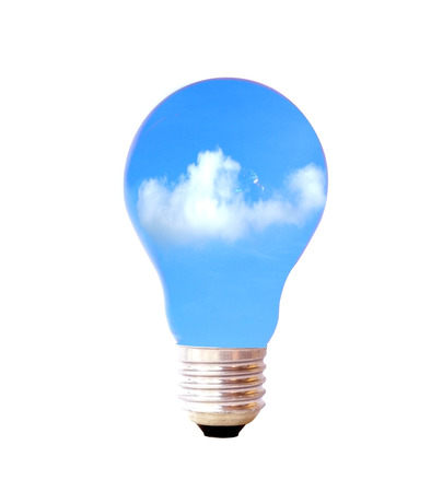 clouds and sky in bulb light isolate on white background photo