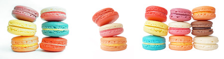 set of different gentle macaroons isolated on white photo