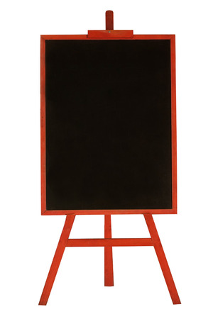 Blank menu chalkboard in red wooden frame isolated on white background