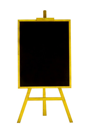 Blank menu chalkboard in wooden frame isolated on white background Banco de Imagens