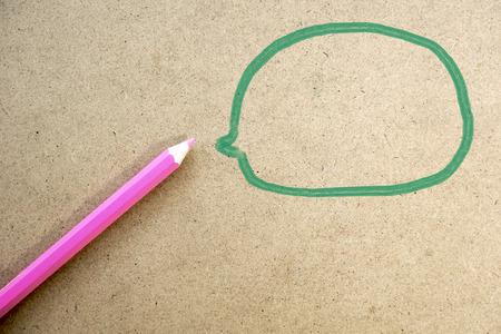 Color pencil with bubble think photo