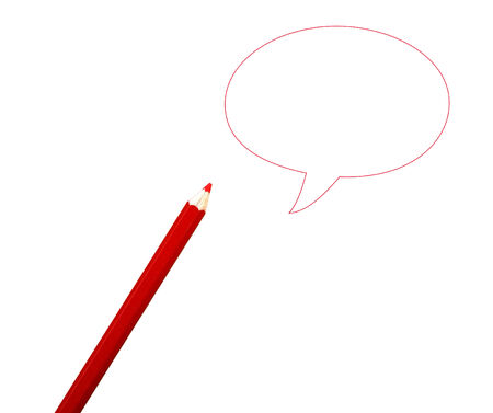 comics bubble and pencil isolated on white background photo