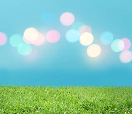 Green grass with colorful light photo