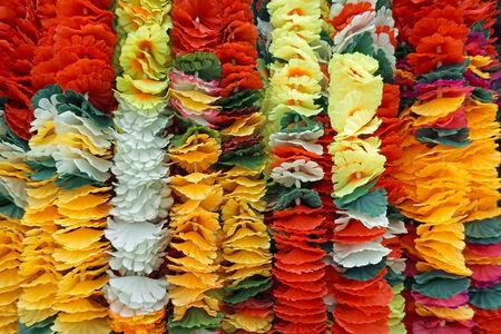 Background of flower garlands in thai style. Thailand. photo