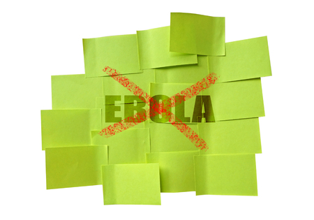 barring: stop EBOLA on sticky note isolate on white