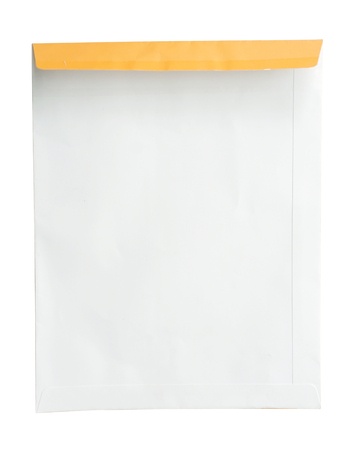 disclose: A4 document envelope on white background in disclose condition. Stock Photo