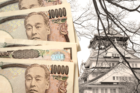 osaka castle: Japanese yen with Osaka castle as background