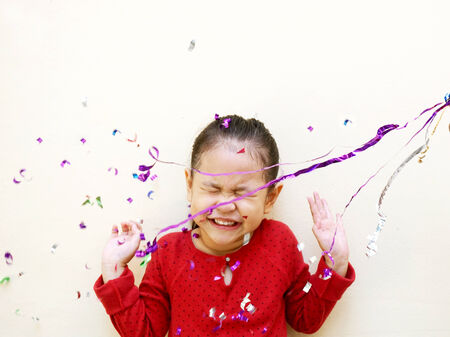 party popper: little girl birthday party Stock Photo